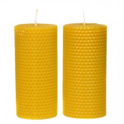 Świeca z wosku pszczelego 14 cm x 6 cm 2 szt